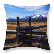 Sawtooth Mountains And Wooden Fence Throw Pillow