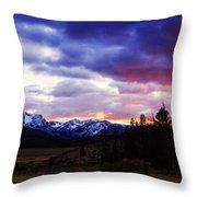 Sawtooth Sunset Panorama Throw Pillow