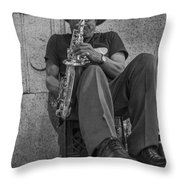 Sax Player In Chicago  Throw Pillow