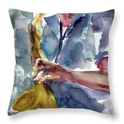 Saxophonist Throw Pillow