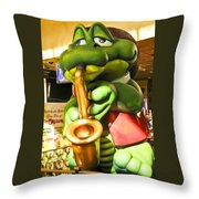 Saxy Frog Throw Pillow