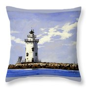 Saybrook Breakwater Lighthouse Old Saybrook Connecticut Throw Pillow