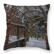 Garden Entrance During Winter Snow At Sayen Gardens Throw Pillow