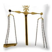 Scale Of Justice Throw Pillow by Olivier Le Queinec