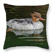 Scaly-sided Merganser Female Throw Pillow