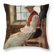 Scandinavian Peasant Woman In An Interior Throw Pillow by Alexandre Lunois