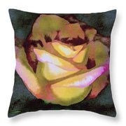 Scanned Rose Water Color Throw Pillow