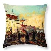 Scarborough Harbour Loading Throw Pillow