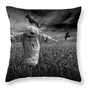 Scarecrow And Black Crows Over A Cornfield Throw Pillow