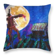 Scarecrow Dancing With The Moon Throw Pillow