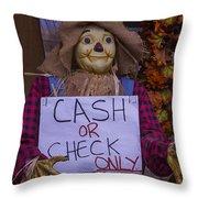 Scarecrow Holding Sign Throw Pillow