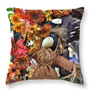 Scarecrow In A Chair Throw Pillow