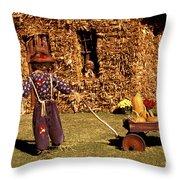 Scarecrows Play Too Throw Pillow