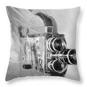 Scarf Camera In Black And White Throw Pillow