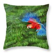 Scarlet Macaw Juvenile In Flight Throw Pillow