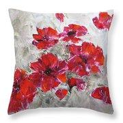 Scarlet Poppies Throw Pillow