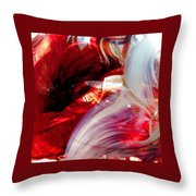 Scarlet Swirls Abstract Throw Pillow