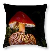 Scarlet Waxcap Throw Pillow
