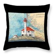 Scarlett Pt Lighthouse Bc Canada Chart Art Throw Pillow
