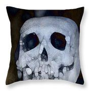 Scary Skull Throw Pillow by Dan Sproul