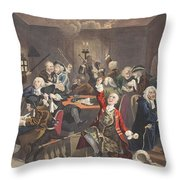 Scene In A Gaming House, Plate Vi Throw Pillow by William Hogarth