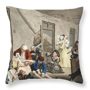 Scene In Bedlam, Plate Viii, From A Throw Pillow by William Hogarth