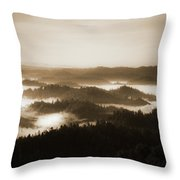 Scenery With Silhouettes Throw Pillow