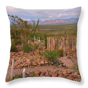 Scenic Boothill Cemetery In Tombstone Arizona Throw Pillow