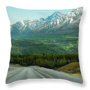 Scenic Drive On The Glenn Highway Throw Pillow