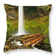 Scenic Elowah Falls In The Columbia River Gorge In Oregon Throw Pillow