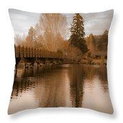 Scenic Golden Wooden Bridge Tree Reflection On The Deschutes River Throw Pillow