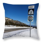 Scenic Highway 12 With Snow Utah Throw Pillow