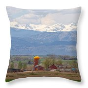 Scenic View Looking Over Anderson Farms Up To Rockies Throw Pillow
