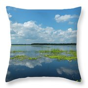 Scenic View Of A Lake Against Cloudy Throw Pillow