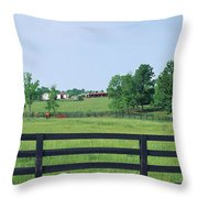 Scenic View Of Horse Farm, Woodford Throw Pillow