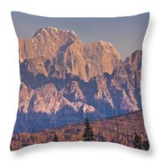 Scenic View Of Sunrise On Mooses Tooth Throw Pillow