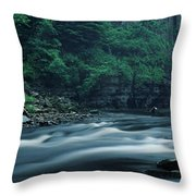 Scenic View Of Waterfall, Teesdale Throw Pillow