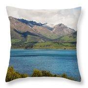 Scenic View On Lake Wakatipu Throw Pillow