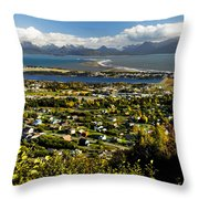 Scenic View Overlooking The Town Of Throw Pillow