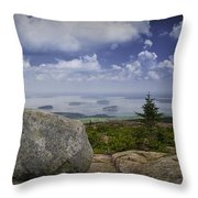 Scenic View With Boulder On Top Of Cadilac Mountain Throw Pillow