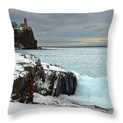 Scenic Winter Lighthouse Throw Pillow