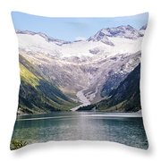 Schlegeis Dam And Reservoir  Throw Pillow