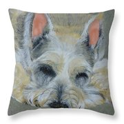 Schnauzer Pet Portrait Original Oil Painting 8x10 Inches Made To Order Throw Pillow