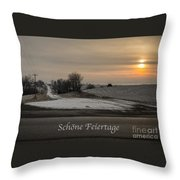 Schone Feiertage With A Winter Sunrise Throw Pillow