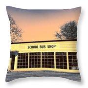School Bus Repair Shop Throw Pillow