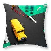 School Bus School Throw Pillow