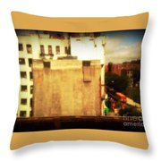 School Bus With White Building Throw Pillow