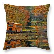 School Days Of Autumn Throw Pillow