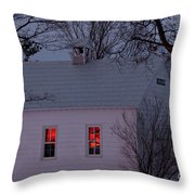 School House Sunset Throw Pillow