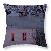 School House Sunset Throw Pillow by Cheryl Baxter